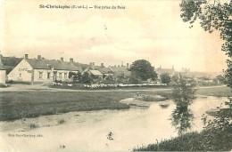 Cpa SAINT CHRISTOPHE 28 Vue Prise Du Pont - Séchage De Chemises Devant Le Café - - Autres Communes
