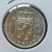 NETHERLANDS - 1 GULDEN 1964 Silver - [ 3] 1815-… : Kingdom Of The Netherlands