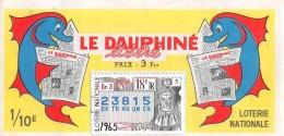 """05985 """"BIGLIETTO  DELLA LOTERIE NATIONALE - 1965 - LE DAUPHINE' LIBERE - 18E TRANCHE - N° 23815"""" ORIGINALE - Biglietti Della Lotteria"""