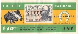 """05991 """"BIGLIETTO  DELLA LOTERIE NATIONALE - 1962 - FER A CHEVAL - 35E TRANCHE N° O4633"""" ORIGINALE - Biglietti Della Lotteria"""
