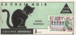 """05992 """"BIGLIETTO  DELLA LOTERIE NATIONALE - 1961 - LE CHAT NOIR - 11E TRANCHE N° 34585"""" ORIGINALE - Biglietti Della Lotteria"""