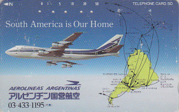 Télécarte Japon / 110-71442 - AVIATION  - ARGENTINA AIRLINES & Map Of South America -  Japan Phonecard - Avion 2073 - Aerei