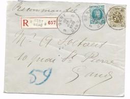 2 Fr N° 208 + 10 Ct  Recom. Gent 9  10.IV.1930 - 1922-1927 Houyoux