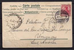 1902 , OSNABRÜCK , VITISCHANZE , TARJETA POSTAL TROQUELADA CIRCULADA A URUGUAY, MAT. ESTACIÓN DE FERROCARRIL - Osnabrueck