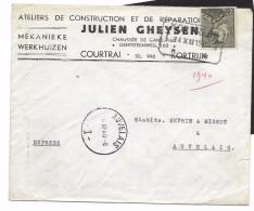 2,50 Fr. N°530  EXPRES T* KORTRIJK* T 14.XII.1940 Naar AUVELAIS  - 1 -  15.12.40   Ateliers De Construction.. Courtrai - 1936-1951 Poortman