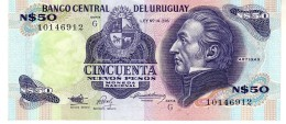 Uruguay P.61a 50 Pesos 1989 Aunc - Uruguay