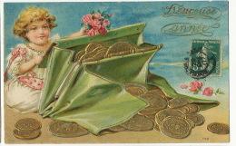 Petite Fille Avec Porte Monnaies Pieces Or Gold German Coins Embossed Gaufrée - Monnaies (représentations)