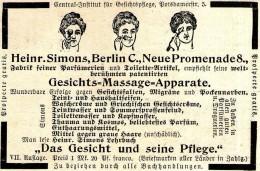 Original-Werbung/ Anzeige 1897 - GESICHTS - MASSAGE - APPARATE / SIMONS - BERLIN - Ca. 90 X 60 Mm - Werbung