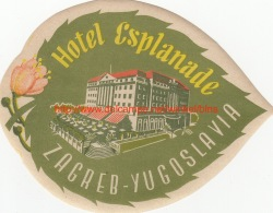 Hotel Esplanade Zagreb-Yugoslavia - Etiquettes D'hotels