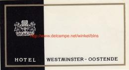 Hotel Westminster Oostende - Etiquettes D'hotels