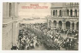 SINGAPORE - Old Postcard SOLDIERS Reception Johnson Pier (1926) - Singapore