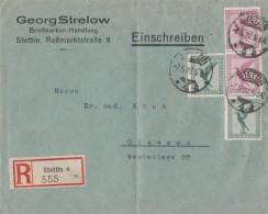 DR R-Brief Mif Minr.2x 378,2x A379 Stettin 7.5.27 - Deutschland