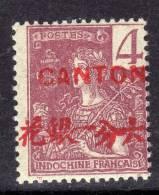 Canton N° 35 XX Surcharge Carmin : 4 C. Lilas-brun Sur Gris Sans Charnière, Gomme Tropicale Sinon TB