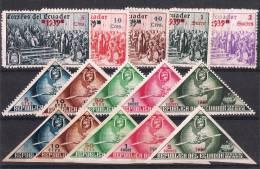 01621 Ecuador 15 Sellos No Emitidos 1939 ** (5 Sellos Colón, 5 Sellos Aereos Dentados, 5 Sellos Aereos  No Dentados) - Ecuador