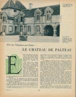 """1959 : Document, CHATEAU DE PALTEAU (2 Pages Illustrées) Villeneuve-sur-Yonne, Pavillon Du """"Masque De Fer"""", Lévriers... - Non Classés"""