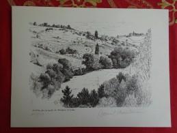 DESSIN DE DANIEL CHANTEREAU LE VIGNOBLE 3 BEAUJOLAIS LE VIVIER ROUTE DE RIVOLET - Prints & Engravings