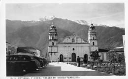 "06007 ""VENEZUELA - MERIDA - CATEDRAL Y SIERRA NEVADA"" ANIMATA, AUTO ANNI '40. CART. ILL. ORIG. NON SPEDITA - Venezuela"