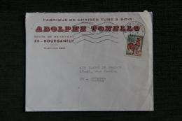 Enveloppe Timbrée Publicitaire - BOURGANEUF, ADOLPHE TONELLO , Fabrique De Chaises Tube Et Bois. - France