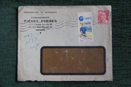 Enveloppe Timbrée Publicitaire - ROUBAIX, Etablt FIEVET Frères, Manufacture De Vêtements. - Lettres & Documents