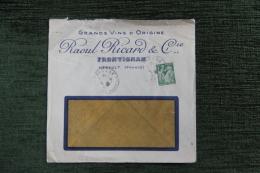 Enveloppe Timbrée Publicitaire - FRONTIGNAN, Raoul RICARD Et Cie, Grands Vins D'Origine. - Lettres & Documents