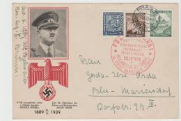 III-Pro325/ Propagandakarte, Sonderkarte Zum Geburtstag Von Hitler, 1939, Zweisprachig, Mit Sonderstempel, Gelaufen. - Allemagne