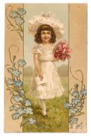 Vintage Embossed Postcard 1907 Edwardian Girl In White W Rose Bouquet Envelope - Portraits