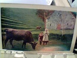 MUCCA  E BAMBINI IN CAMPAGNA POESIA DI O BARBIERI  VB1917 FN3802 - Vaches