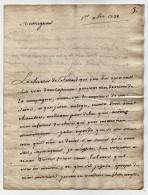 Lettre Manuscrit De Malbran De Lanoue Sans Doute Au Marquis D'Avaray Bataille D'Almansa 1728 - Documents Historiques