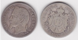 2 FRANCS NAPOLEON III Lauré 1869 A En ARGENT (voir Scan) - I. 2 Franchi