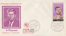 Enveloppe  FDC  1er  Jour    REPUBLIQUE   CENTRAFRICAINE    Président   John  KENNEDY   1964 - Kennedy (John F.)