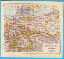 DEUTSCHES REICH & DENMARK Orig. Old Map About 1900.y Maps Cartes Anciennes Alte Karten Vecchie Mappe Germany Deutschland - Geographical Maps