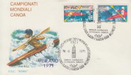 Enveloppe  FDC  1er Jour   ITALIE    Championnat  Du  Monde  De  Canoê   MERANO   1971 - Canoa