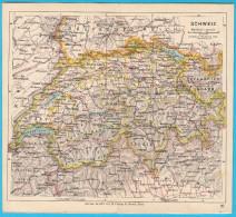 SWITZERLAND Original Old Map About 1900.y * Maps Cartes Anciennes Alte Karten Vecchie Mappe Suisse Schweiz Svizzera - Geographical Maps