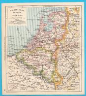HOLLAND & BELGIUM - Original Old Map About 1900.y * Maps Cartes Anciennes Alte Karten Vecchie Mappe Netherland Belgie - Geographical Maps