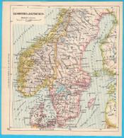 SWEDEN & NORWAY - Original Old Map About 1900.y * Maps Cartes Anciennes Alte Karten Vecchie Mappe * Suede Norvege - Geographical Maps
