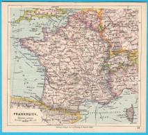FRANCE - Original Old Map About 1900.y * Maps Cartes Anciennes Alte Karten Vecchie Mappe * Francia Frankreich - Geographical Maps