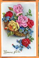 MAW-24 Bonne Fête, Roses, Bleuts.Tampon Fêtes De Genève 1953 - Fêtes - Voeux
