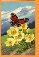 MAW-27 A. Wagner, Anémones Et Papillon. Circulé - Illustrateurs & Photographes
