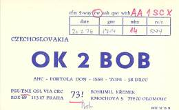 Amateur Radio QSL Card - OK2BOB - Czechoslovakia - 1976 - Radio Amateur