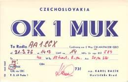 Amateur Radio QSL Card - OK1MUK - Czechoslovakia - 1976 - 2 Scans - Radio Amateur