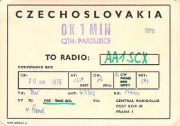 Amateur Radio QSL Card - OK1MIN - Pardubice, Czechoslovakia - 1976 - 2 Scans - Radio Amateur