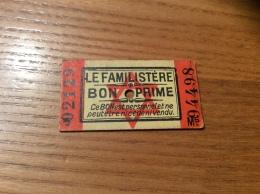 Ticket BON PRIME LE FAMILISTÈRE (occupation, Rationnement, Destiné Aux Familles Juives) Années 39 45 Type M5 - Documenti Storici
