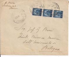 DEMOCRATICA L.5 X 3 - BLOCCO IN TARIFFA LETTERA, 1948, TIMBRO POSTE ROMA, - 1946-60: Storia Postale