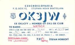 Amateur Radio QSL Card - OK3JW - Czechoslovakia - 1974 - Radio Amateur
