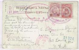 Mexico Registered Postcard Cover Scott #612 Montemorelos May 28 1918 Censor B/S Nuevo Laredo - TAM To USA Robles Montery - Mexique