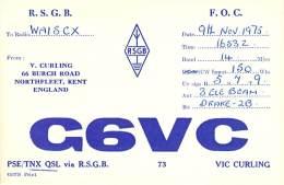 Amateur Radio QSL Card - G6VC - Northfleet, Kent ENGLAND - 1975 - 2 Scans - Radio Amateur