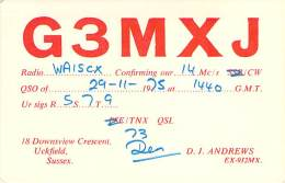 Amateur Radio QSL Card - G3MXJ - Uckfield, Sussex ENGLAND - 1975 - Radio Amateur
