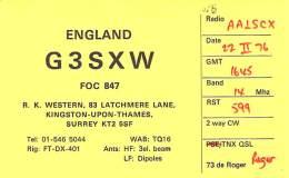 Amateur Radio QSL Card - G3SXW - Surrey ENGLAND - 1976 - Radio Amateur