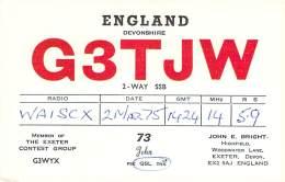 Amateur Radio QSL Card - G3TJW - Exeter, Devon ENGLAND - 1975 - Radio Amateur