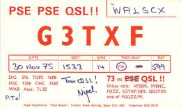 Amateur Radio QSL Card - G3TXF - Feering, Essex ENGLAND - Nov 1975 (2 QSOs) - 2 Scans - Radio Amateur